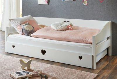 Hedendaags bedbank Elsa met hartjes en met slaaplade / opberglade kleur wit KF-44